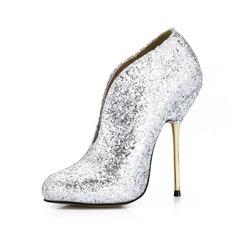 Funkelnde Glitzer Stöckel Absatz Stiefelette Schuhe