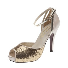 Leatherette Stiletto Heel Sandals Peep Toe With Sparkling Glitter Buckle shoes