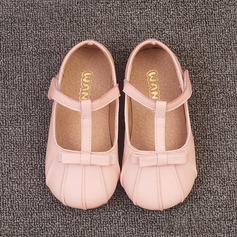 Jentas Lukket Tå Leather flat Heel Flate sko Flower Girl Shoes med Bowknot Velcro