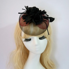 Senhoras Charmosa/Bonito Fio rede/Flor de seda com Flor de seda Fascinators