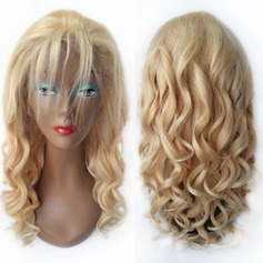 4A Non remy Loose Wavy Human Hair Lace Front Wigs