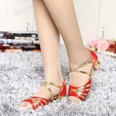 Femmes Satiné Similicuir Sandales Latin avec Boucle Ouvertes Chaussures de danse