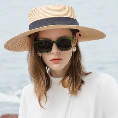Señoras' Glamorosa/Simple Paja de trigo Sombreros Playa / Sol