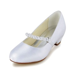 Girl's Closed Toe Satin Low Heel Pumps Flower Girl Shoes With Imitation Pearl (207095485)