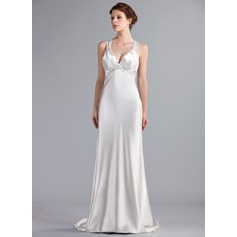 Empire V-neck Sweep Train Charmeuse Wedding Dress