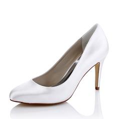 Mulheres Seda Salto agulha Bombas Sapatos Tingíveis