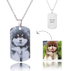 Custom Silver Engraving/Engraved Tag Black And White Photo Necklace - Mother's Day Gifts (288234216)