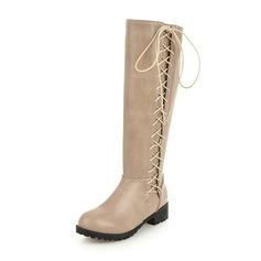 Vrouwen Kunstleer Low Heel Closed Toe Laarzen Knie Lengte Laarzen Rijlaarzen met Vastrijgen schoenen