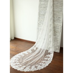One-tier Lace Applique Edge Cathedral Bridal Veils With Lace (006089560)