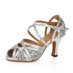Women's Sparkling Glitter Heels Sandals Latin With Ankle Strap Dance Shoes (053109231)