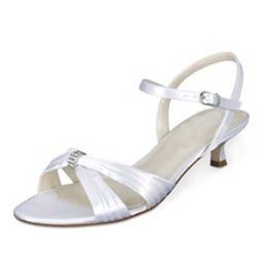 Women's Satin Kitten Heel Sandals Slingbacks (047092144)