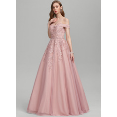 Ball-Gown/Princess Off-the-Shoulder Floor-Length Tulle Wedding Dress With Beading