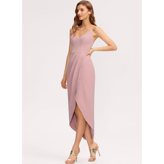 Sheath/Column V-neck Asymmetrical Stretch Crepe Bridesmaid Dress (007221225)