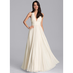 A-Line V-neck Floor-Length Chiffon Bridesmaid Dress With Pleated (007229676)