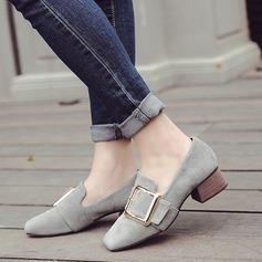 Women's Suede Low Heel Flats With Buckle shoes