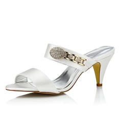 De mujer Satén Tacón en cono Sandalias Zapatos Que Se Pueden Teñir
