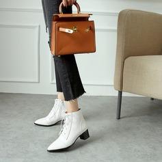Naisten Keinonahasta Chunky heel Avokkaat Kengät Nilkkurit jossa Nauhakenkä kengät