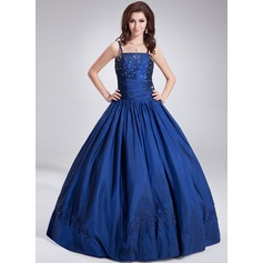 Ball-Gown Floor-Length Taffeta Prom Dress With Beading Sequins