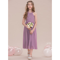 A-Line Halter Tea-Length Chiffon Junior Bridesmaid Dress With Ruffle