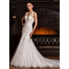 Trompete/Sereia Decote V Cauda longa Tule Renda Vestido de noiva