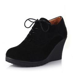 De mujer Ante Tipo de tacón Salón Plataforma Cuñas Botas Botas al tobillo con Cordones zapatos