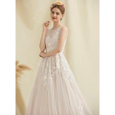 Balklänning/Prinsessa Rund-urringning Court släp Tyll Spets Bröllopsklänning