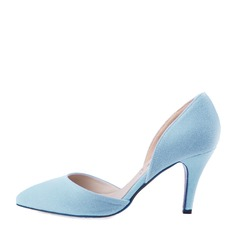 Women's Suede Stiletto Heel Pumps Closed Toe shoes (085059870)