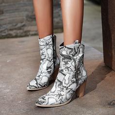 Frauen Kunstleder Stämmiger Absatz Stiefelette mit Tierdruckmuster Reißverschluss Schuhe