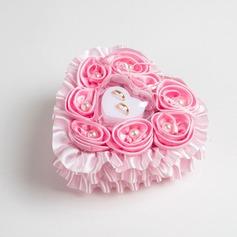 En forme de coeur Coussin pour alliances à Tissu avec Rubans/Strass/De faux pearl/Fleur(s)