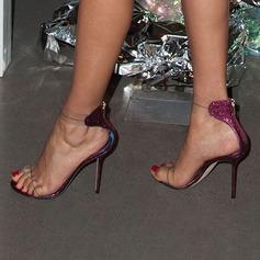Donna Glitter scintillanti PVC Tacco a spillo Sandalo Stiletto Punta aperta con Cerniera scarpe