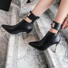 Kvinnor Konstläder Stilettklack Boots med Strass Spänne Animaliska Tryck Zipper skor