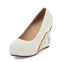 Frauen PU Keil Absatz Absatzschuhe Plateauschuh Geschlossene Zehe Keile mit Schmuckabsatz Schuhe
