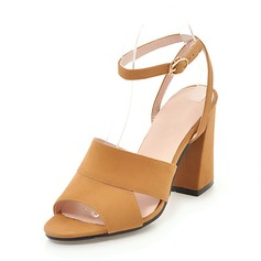 Women's Suede Chunky Heel Sandals Pumps Peep Toe Slingbacks With Others shoes