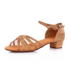 Детская обувь Атлас На каблуках Сандалии Латино с Ремешок на щиколотке Обувь для танцев