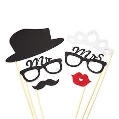 """Mr & Mrs"" Kort papper Foto booth rekvisita (6 st)"