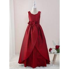 Платье Для Балла/Принцесса Длина до пола Нарядные платья для девочек - Тафта Без Рукавов V-образный с Цветы