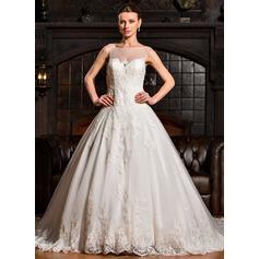 Платье для Балла Круглый Царский поезд Тюль Свадебные Платье с аппликации кружева