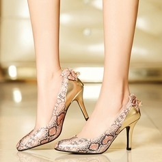 Women's Leatherette Stiletto Heel Pumps With Bowknot Animal Print shoes