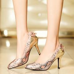 De mujer Cuero Tacón stilettos Salón con Bowknot Estampado de animales zapatos