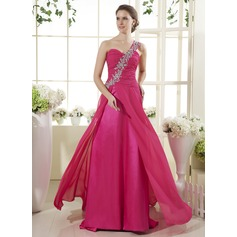 A-Line/Princess One-Shoulder Sweep Train Chiffon Prom Dress With Ruffle Beading