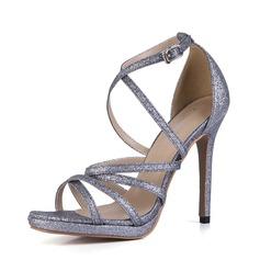 Frauen Funkelnde Glitzer Stöckel Absatz Sandalen Absatzschuhe Peep Toe mit Schnalle Schuhe