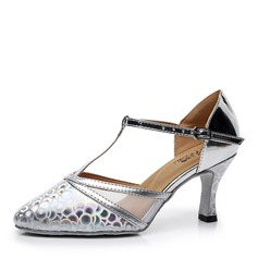 Women's Leatherette Heels Ballroom With T-Strap Dance Shoes
