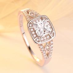 925 Sterling Sølv med Princess Terningformet Zirkon Ringe