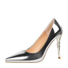 Women's Patent Leather Stiletto Heel Pumps Closed Toe With Jewelry Heel shoes