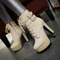 Women's PU Chunky Heel Pumps Platform Mid-Calf Boots With Zipper Lace-up shoes