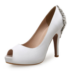 Women's Silk Like Satin Stiletto Heel Peep Toe Platform Pumps With Buckle (047146115)