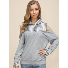 Striped Long Sleeves Polyester Cold Shoulder Blouses (1003237807)