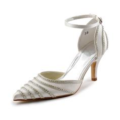 De mujer Satén Tacón Stilettos Cerrados Salón con Hebilla Diamantes de imitación