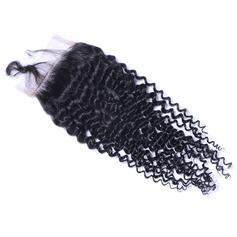 5A Virgin / remy Kinky Curly les cheveux humains Fermeture (Vendu en une seule pièce) 40g