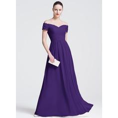 Vestidos princesa/ Formato A Off-the-ombro Longos tecido de seda Vestido de festa com Bordado Apliques de Renda lantejoulas